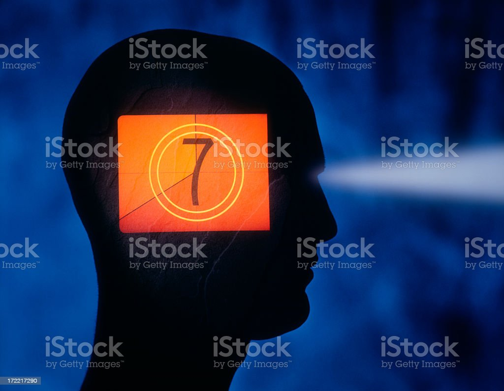 Image of a person's head containing a film screen royalty-free stock photo