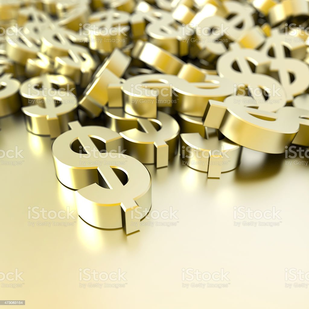 Image of a pile of solid gold dollar symbols stock photo
