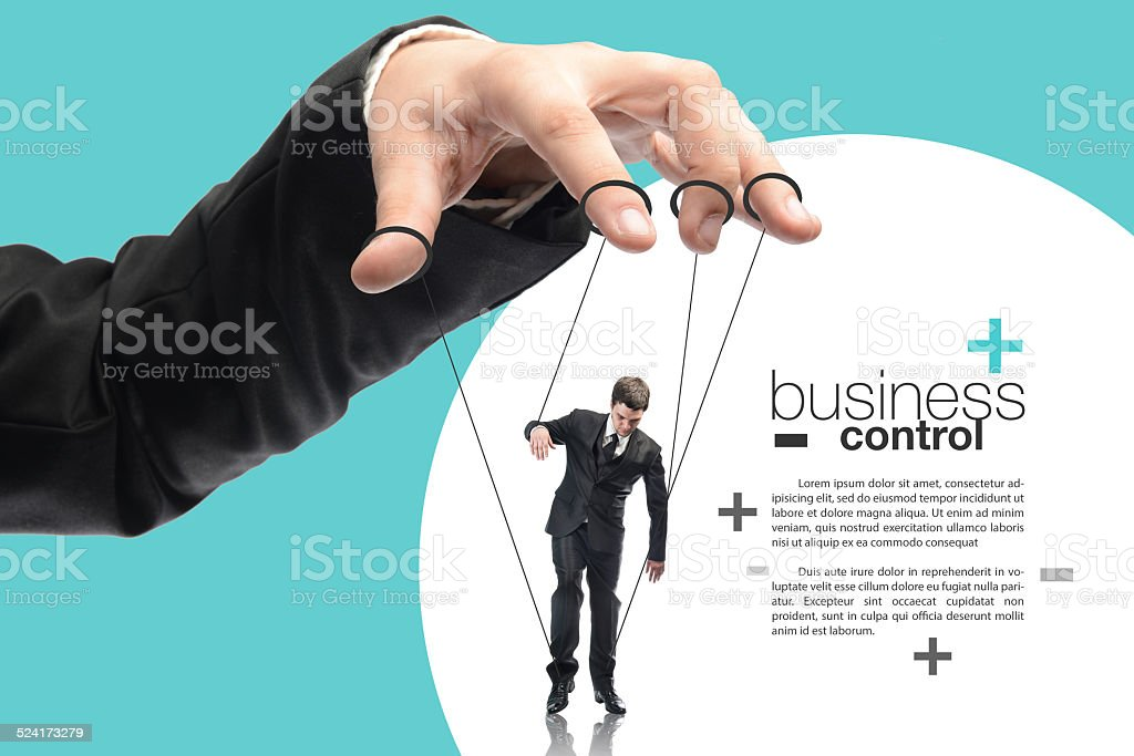image of a puppet businessman stock photo
