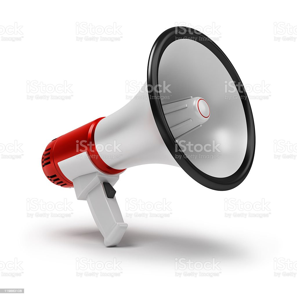 Image of a red and white megaphone on a white background stock photo