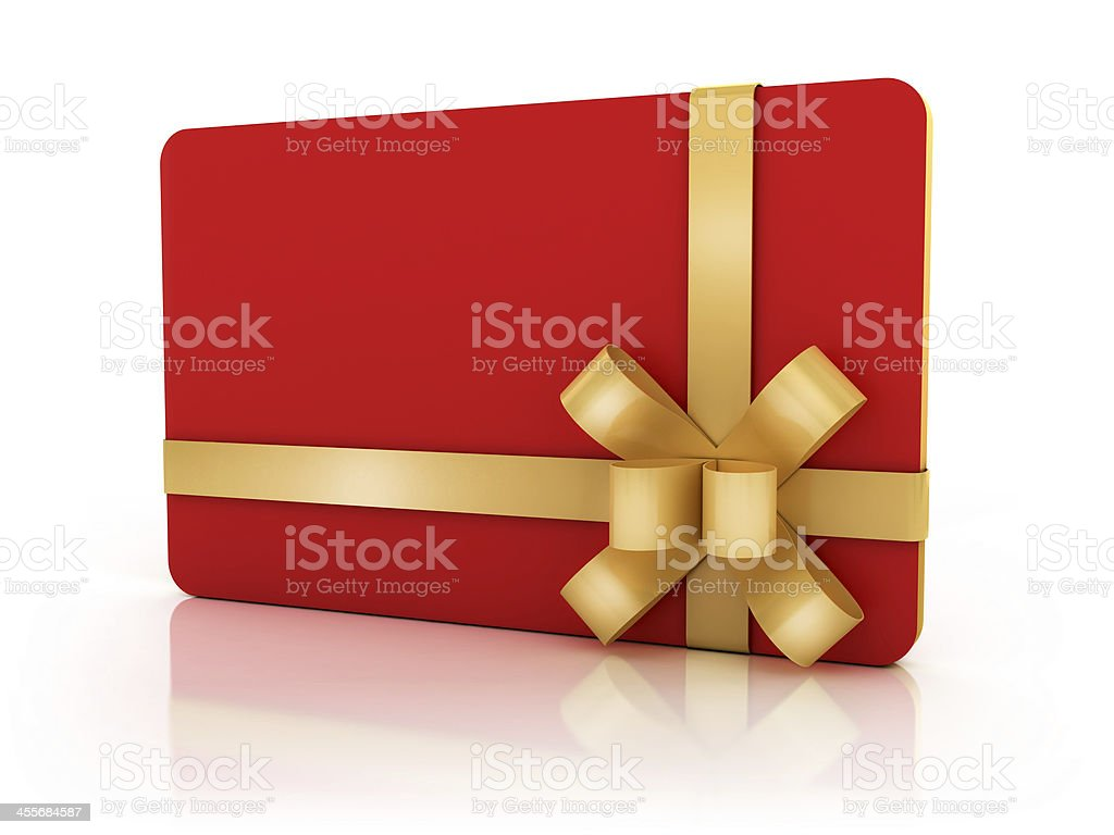Image of a red gift card with a gold now stock photo