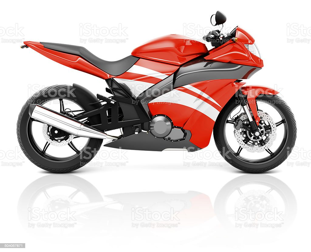 3D Image of a Red Modern Motorbike stock photo
