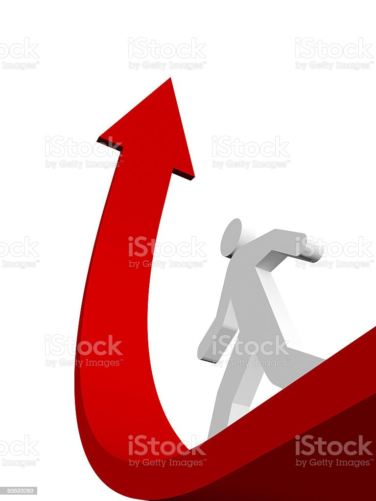 3D image of a white figure walking up a curved red arrow royalty-free stock photo