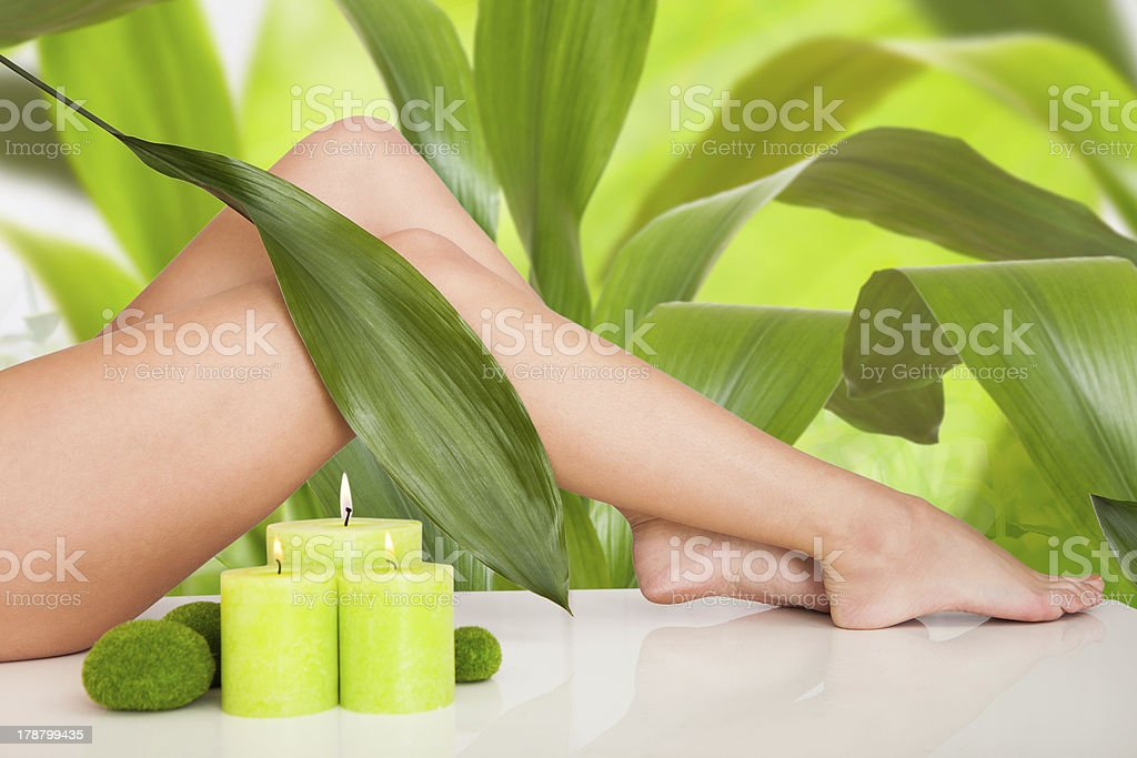Image of a woman's legs with palm leaves in the background royalty-free stock photo