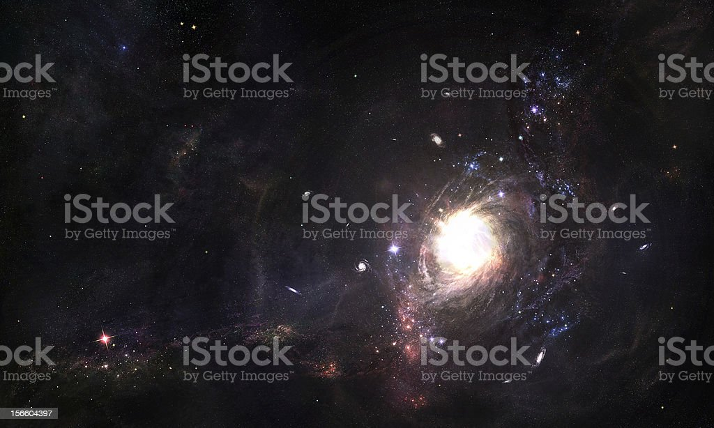 Image of a wormhole in the middle of space stock photo