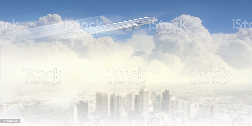 Image of airplane in sky royalty-free stock photo