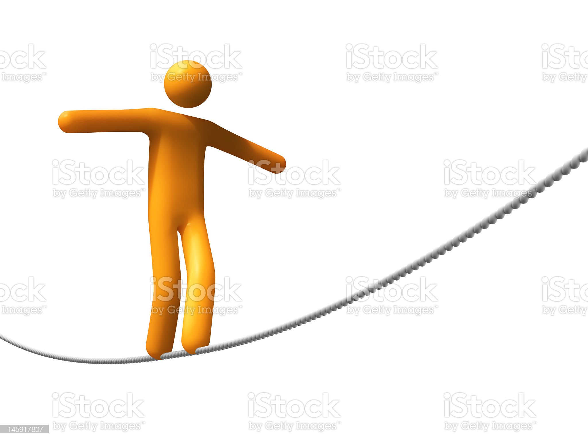 Image of an abstract person walking a tight rope royalty-free stock photo
