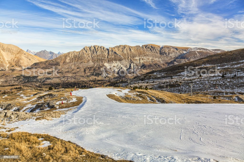 Image of an Empty Artificial Snow Ski Slope stock photo