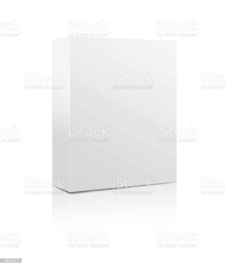 3D image of an empty software box with white background stock photo