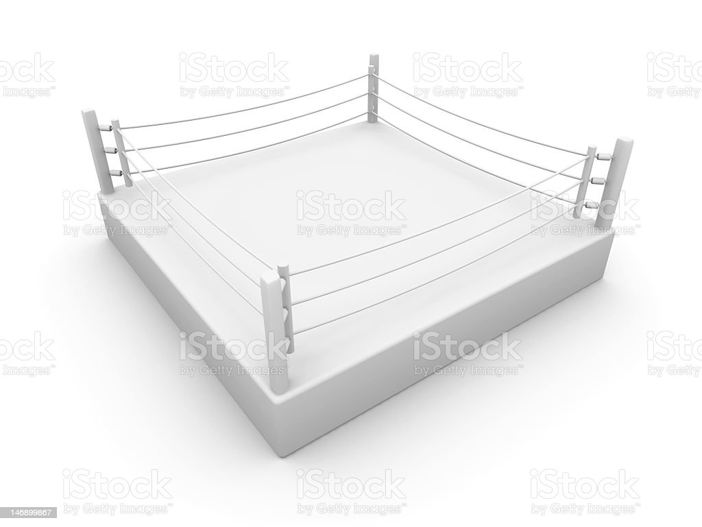 3D image of an empty white boxing ring stock photo