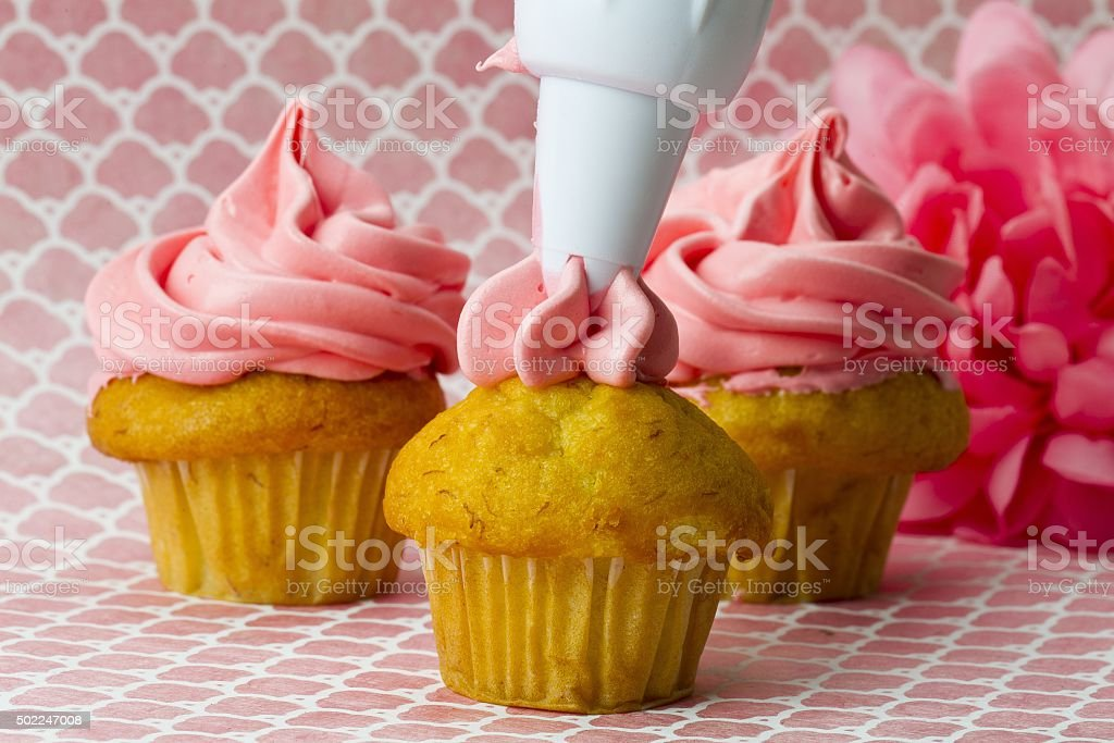 image of an icing bag squeezing icing onto a cupcake stock photo