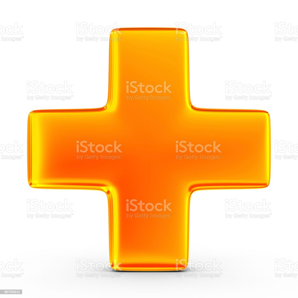 3D image of an orange plus sign on white background stock photo