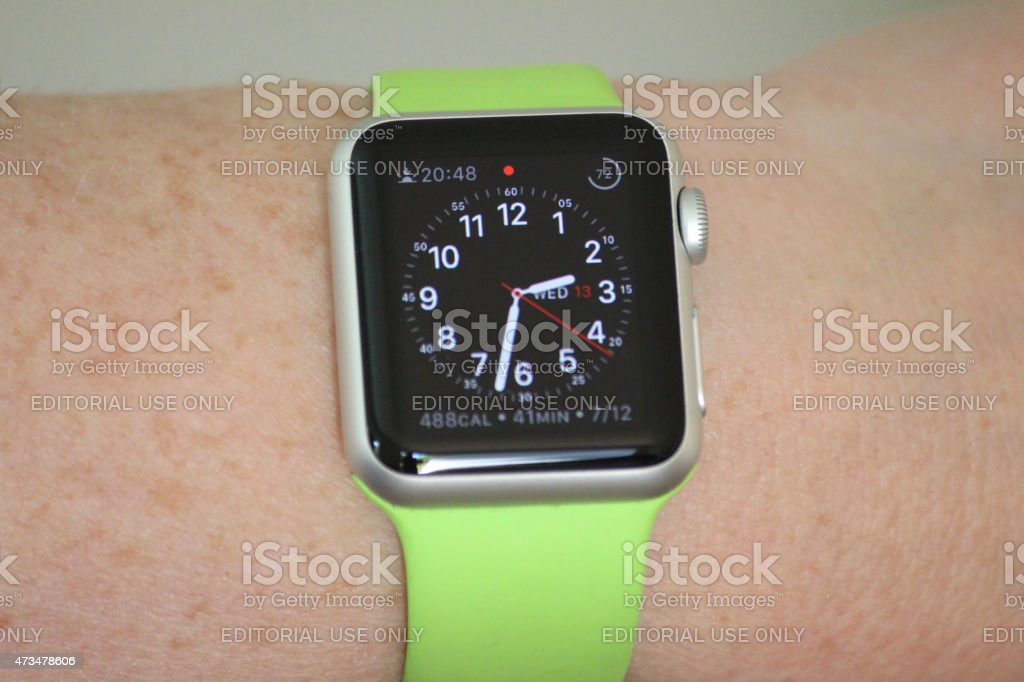 Image of Apple Watch Sport model with analogue clock face stock photo