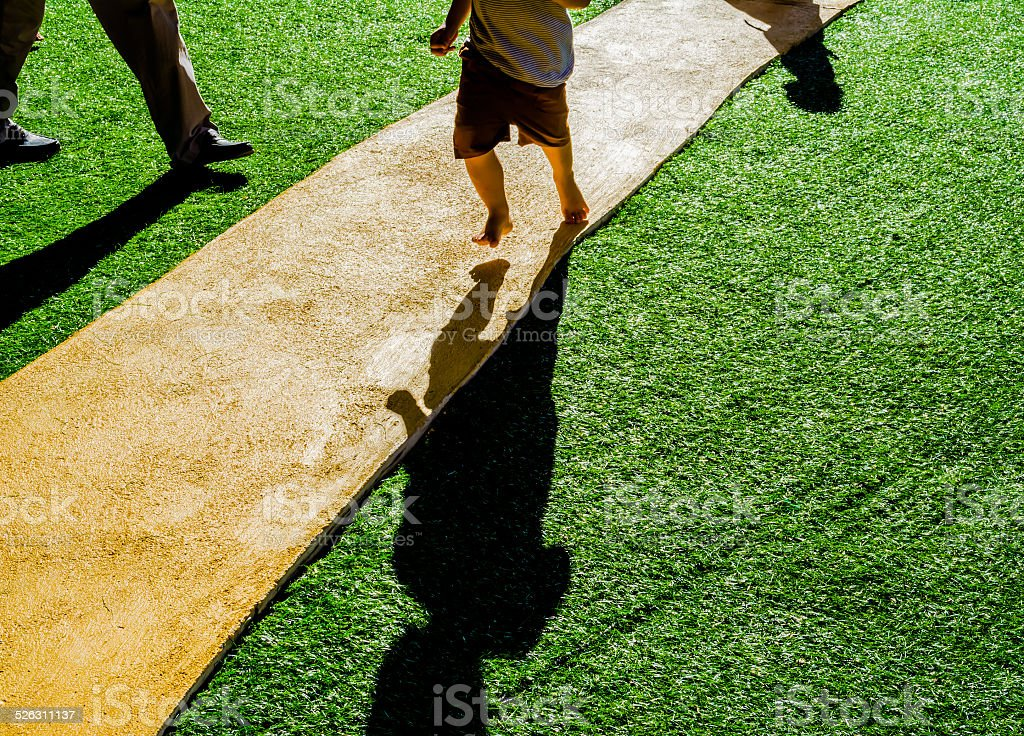 image of Artificial grass path way . stock photo