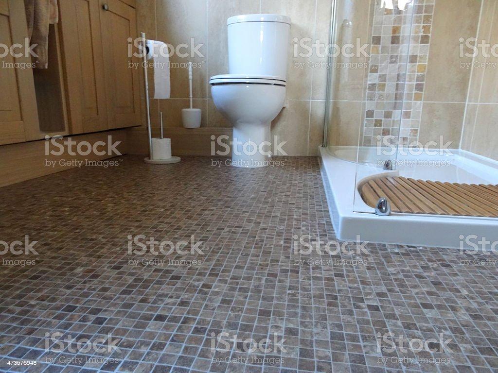 Image Of Bathroom Shower oom With oilet Mosaic Vinyl Flooring ... - ^