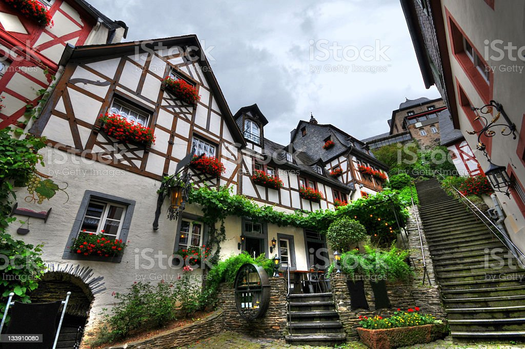 HDR image of Beilstein in mosel valley with typical Half-Timbered stock photo
