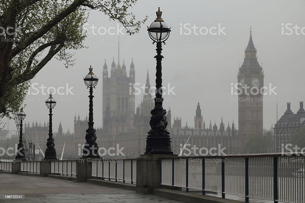 Image of Big Ben and Houses of Parliament on a overcast day stock photo