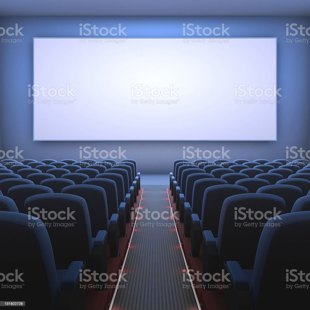 3D image of blank cinema screen stock photo
