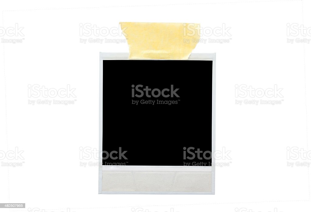 image of blank photo with sticky tape stock photo