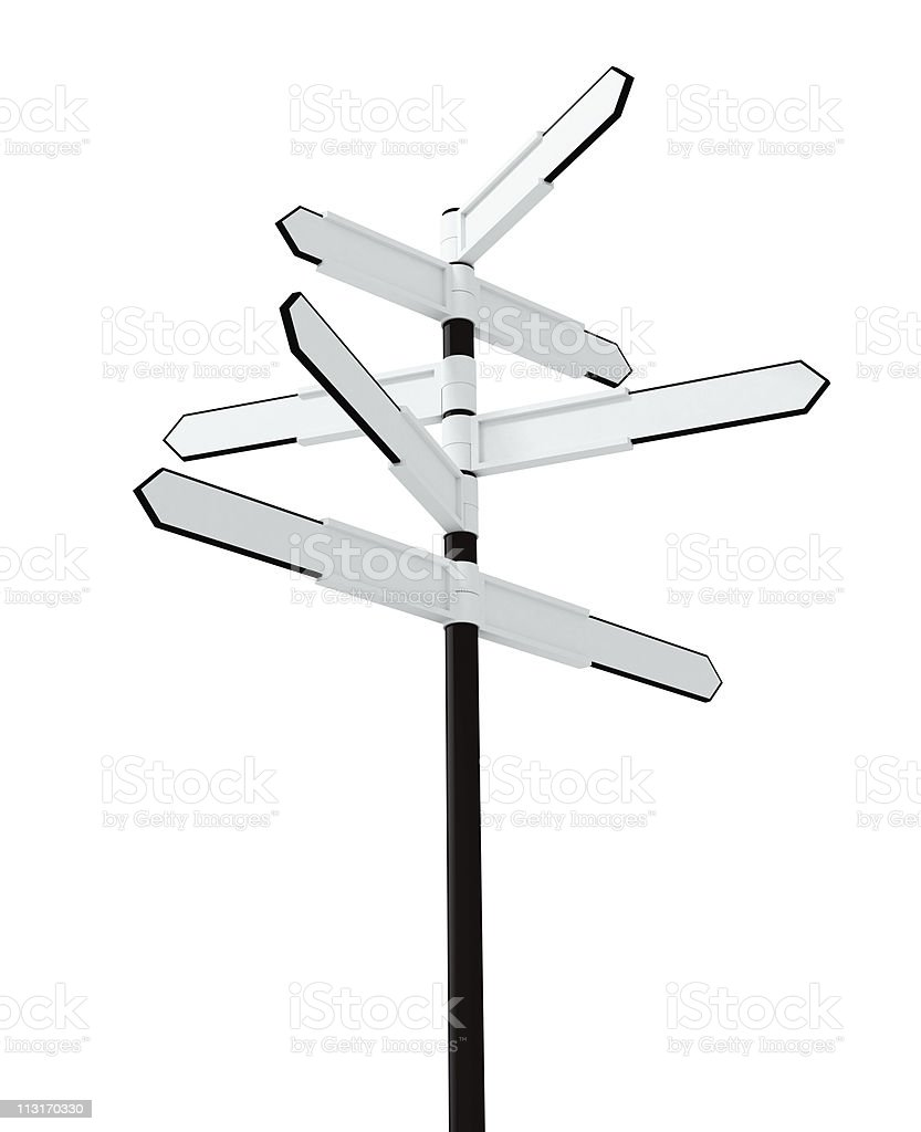 Image of blank signpost isolated over white royalty-free stock photo