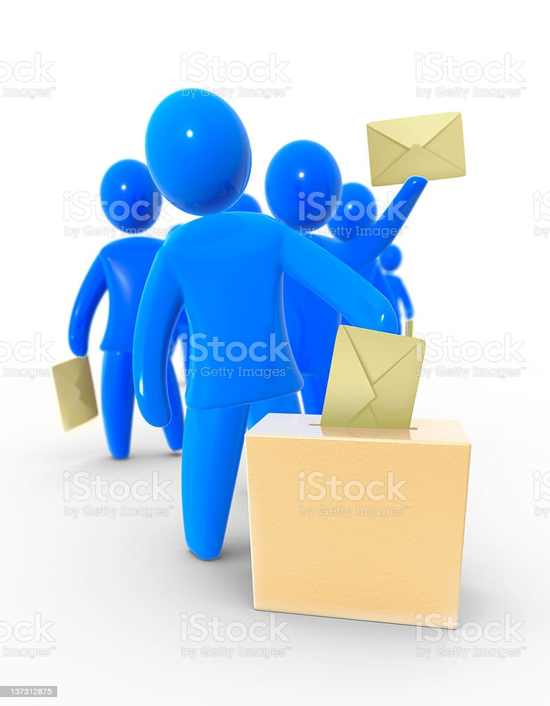 Image of blue 3D models of people placing votes into box stock photo