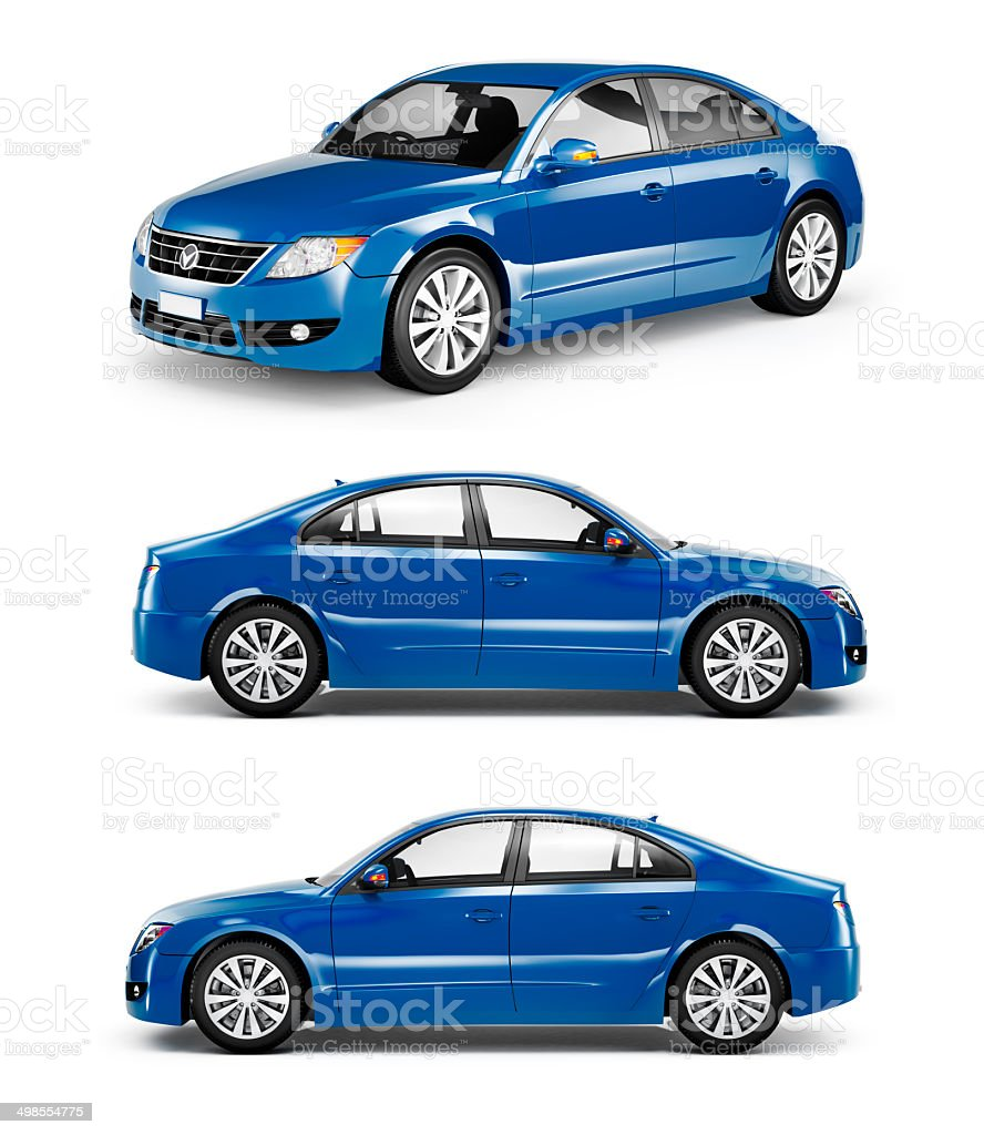 3D Image of Blue Family Car stock photo
