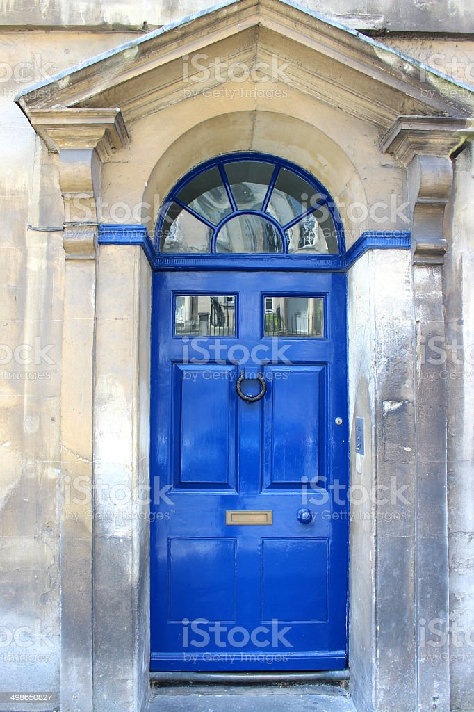 Image of blue front door on Georgian house, Bath stone stock photo