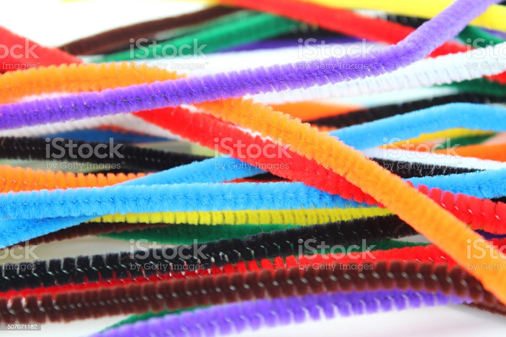 Image of brightly coloured pipe-cleaners for arts and crafts / handicrafts stock photo