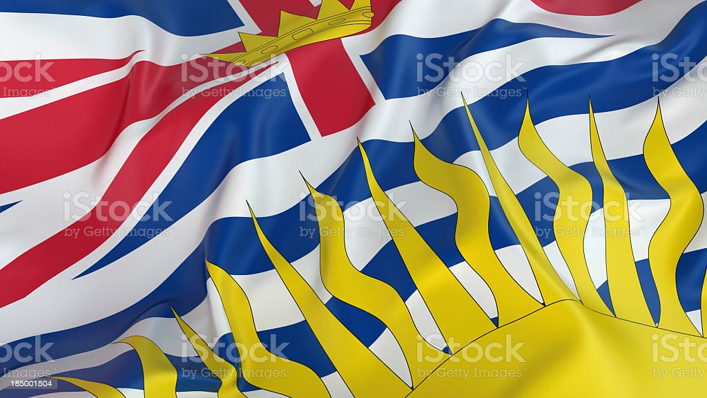 Image of British Columbia flag waving stock photo