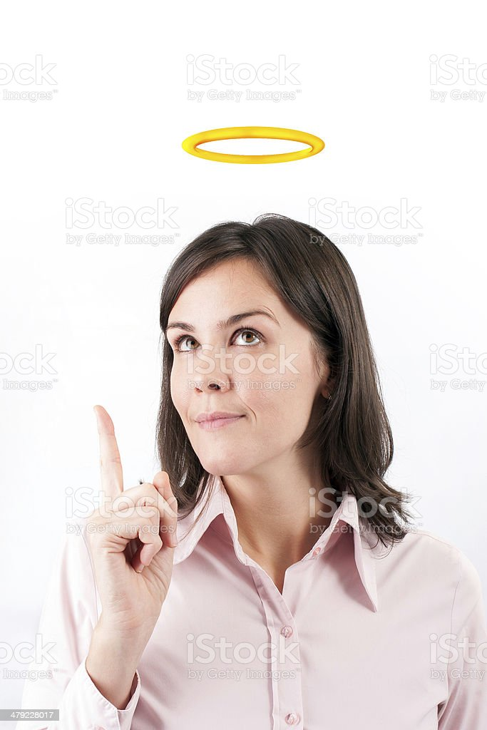 Image of businesswoman with halo above head. stock photo