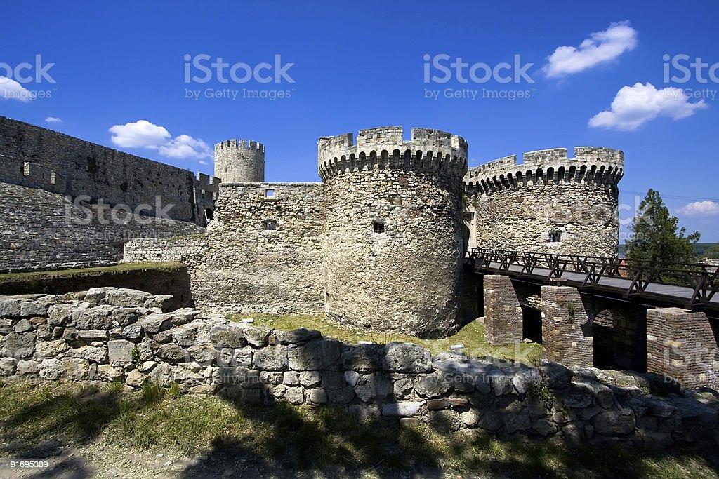 Image of castle ruins in Belgrade, Serbia stock photo