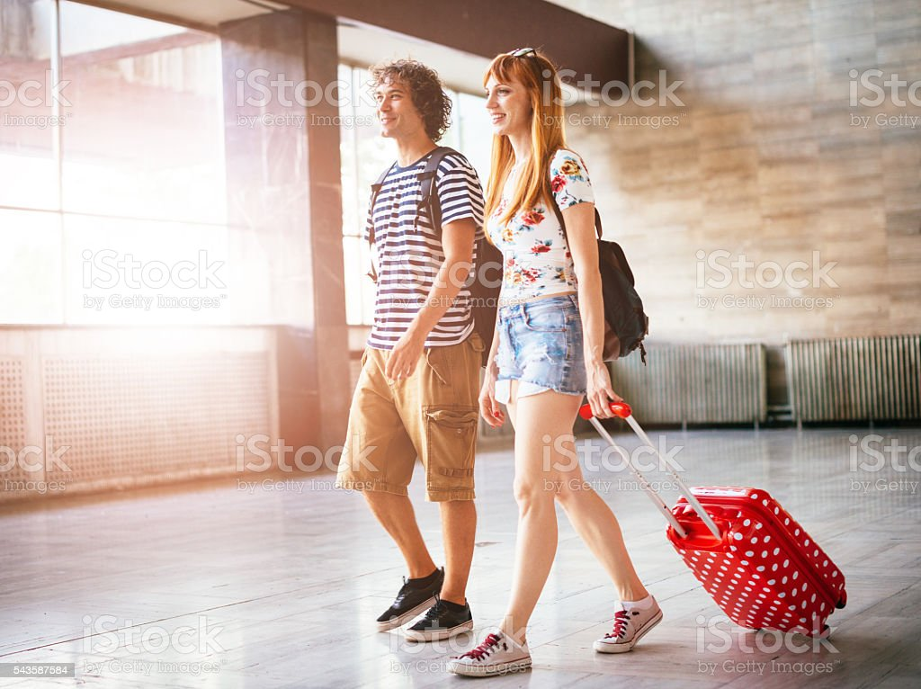 Image of cheerful couple traveling together on summer trip stock photo