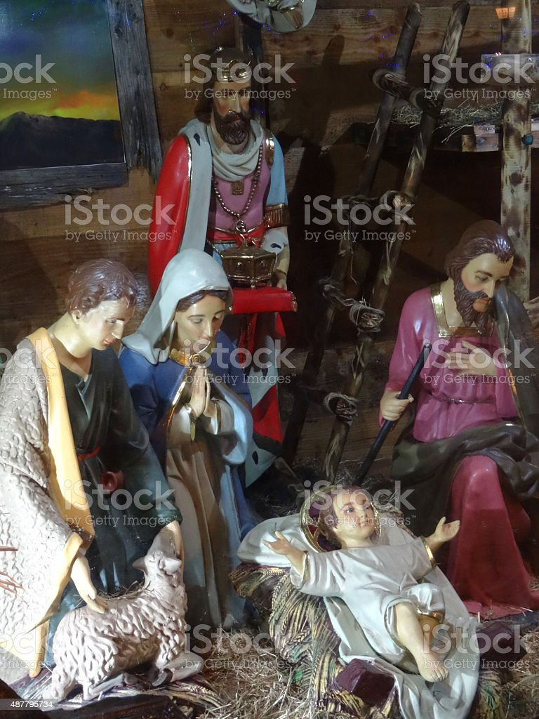 Image of Christmas nativity display with Mary, Joseph, Jesus, Three-Kings stock photo