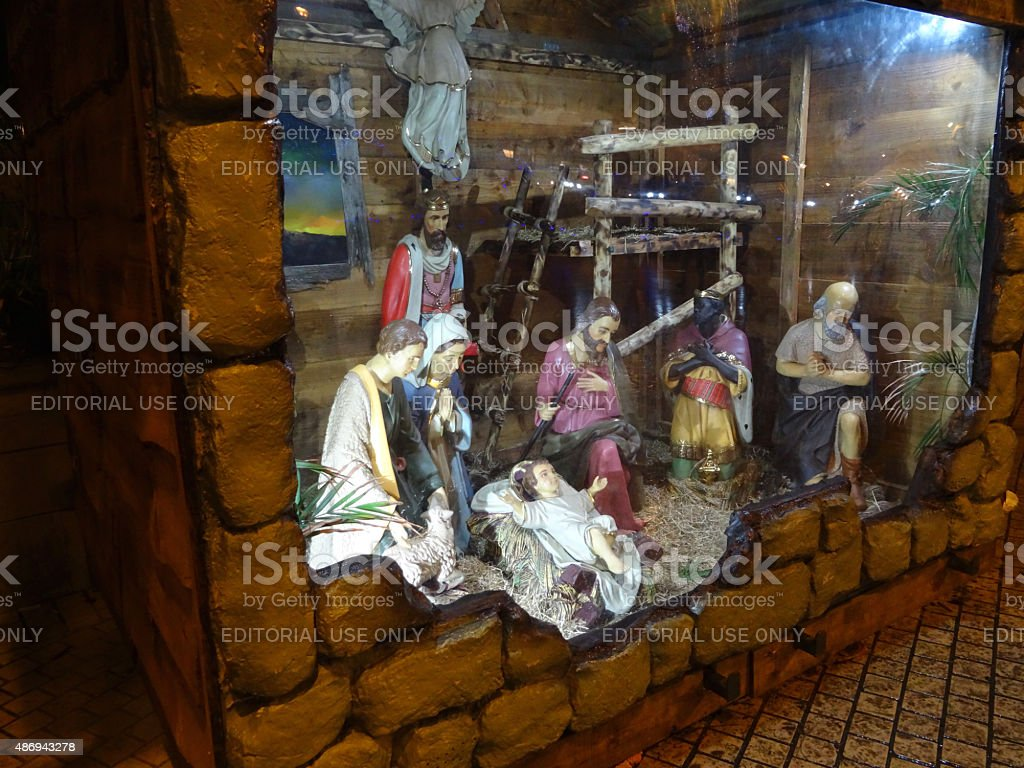 Image of Christmas nativity scene with religious statues / figures, baby-Jesus stock photo