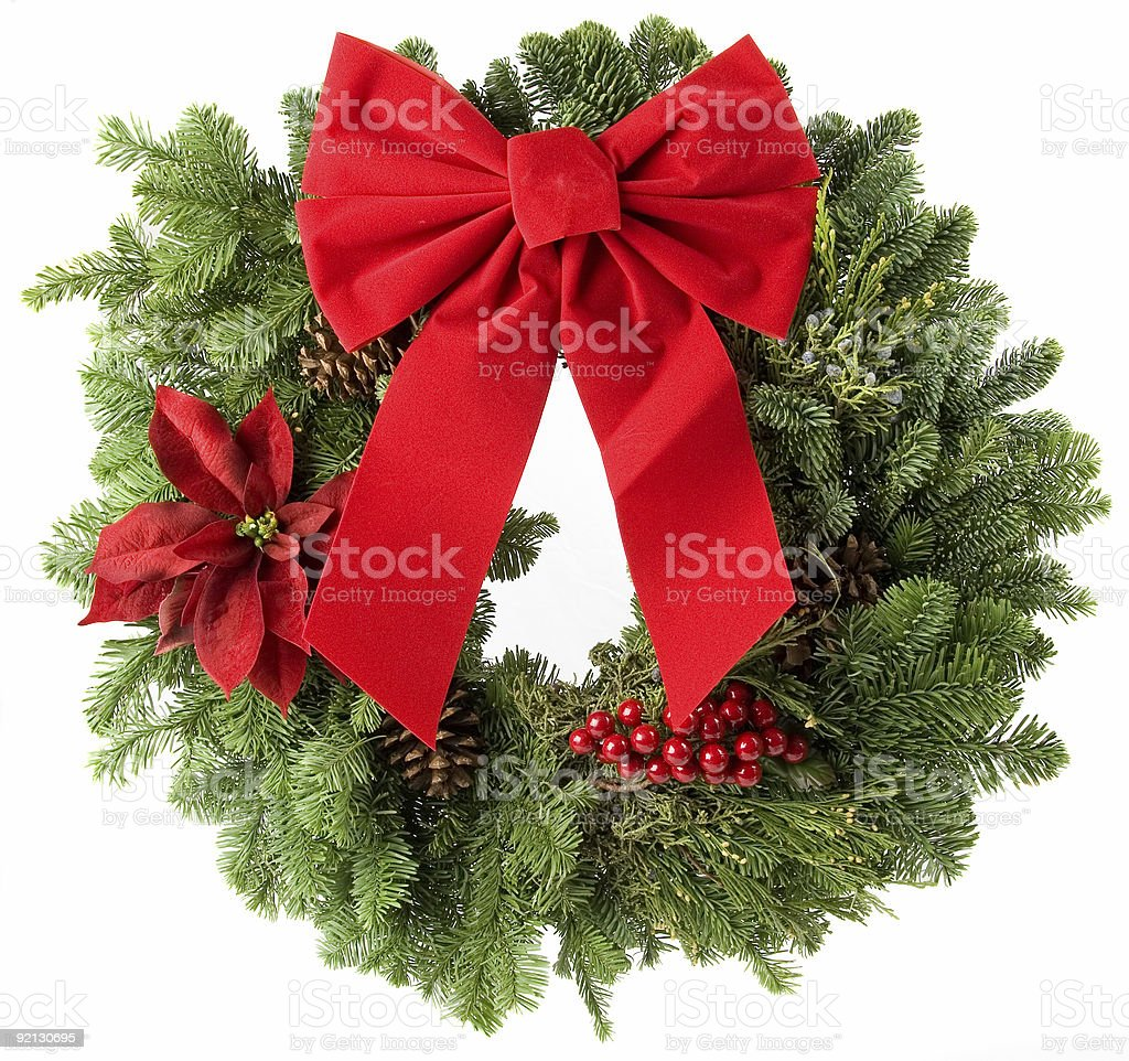 Image of Christmas wreath with big butterfly bow on top royalty-free stock photo