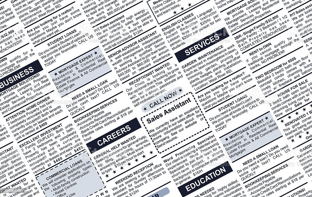 Image of classified ads positioned diagonally stock photo