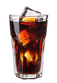 Image of Cola glass with ice cubes over white