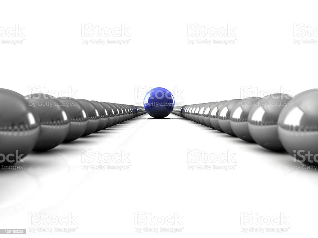 Image of colored bowling balls representing leader concept royalty-free stock photo