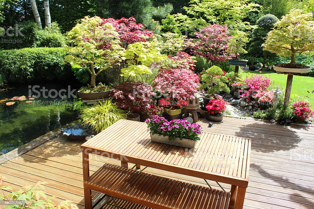 image of contemporary wooden table benches garden furniture decking pond royalty
