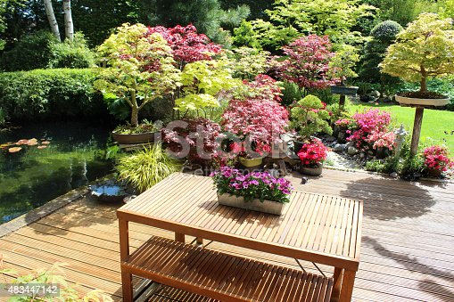 image of contemporary wooden table benches garden furniture decking pond stock photo 483447142 istock