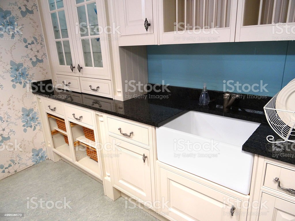 Kitchen Granite Worktop Image Of Cottage Kitchen Black Granite Worktop Belfast Butler Sink