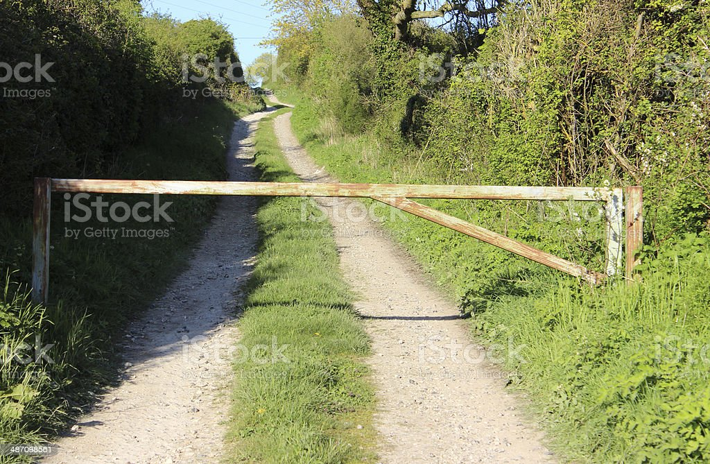 Image of country lane used by farm, with hedges / hedgerows royalty-free stock photo