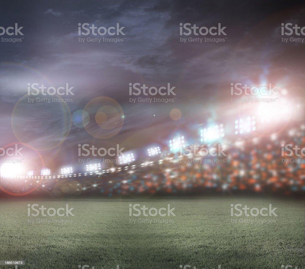 Image of crowded stadium with spotlights stock photo