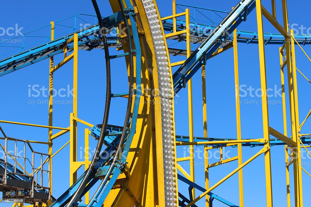 Image of curves, slopes, railroad tracks of funfair rollercoaster ride stock photo