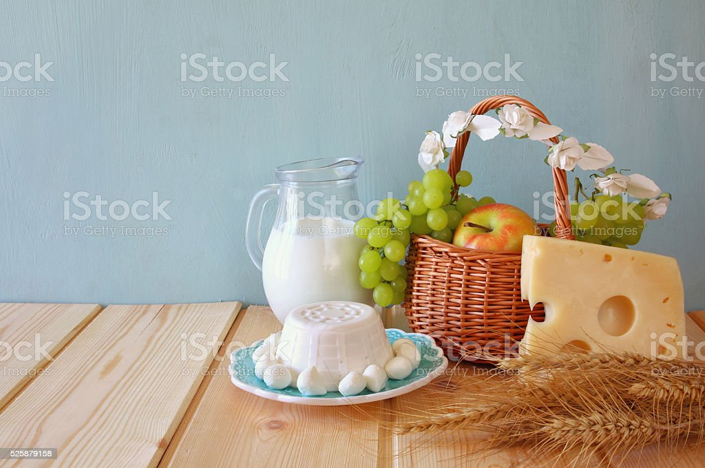 image of dairy products and fruits stock photo