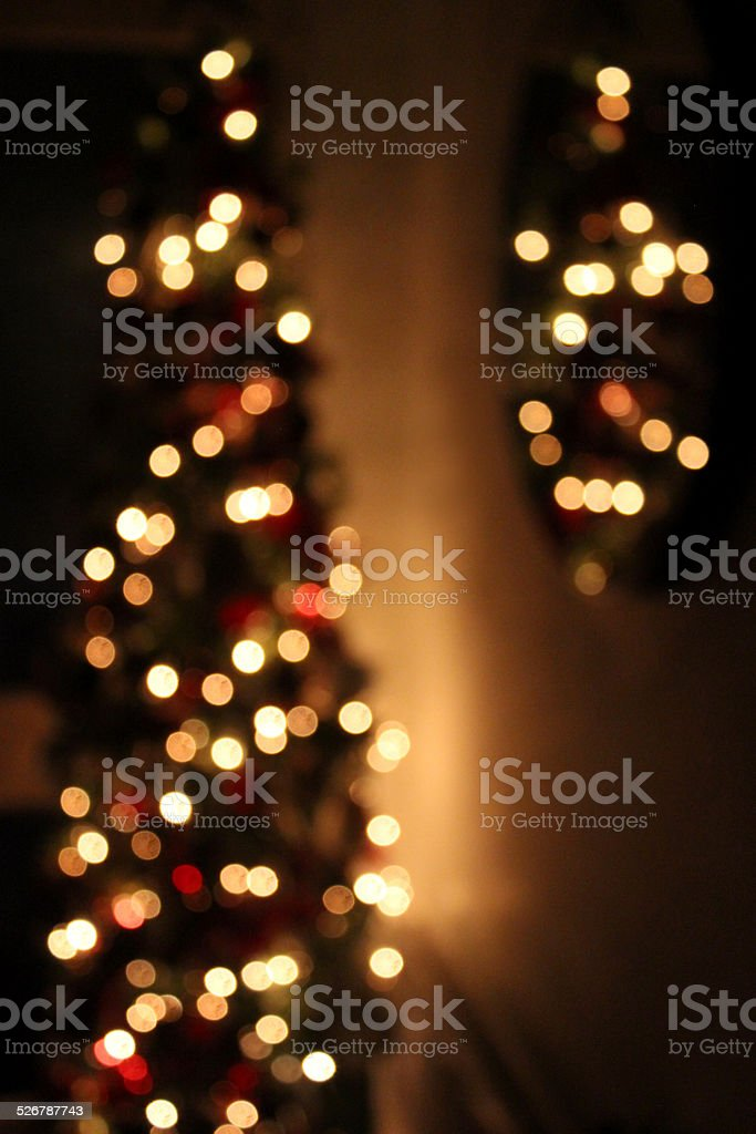 Image of defocused Christmas tree white-led fairy-lights, mirror reflection stock photo