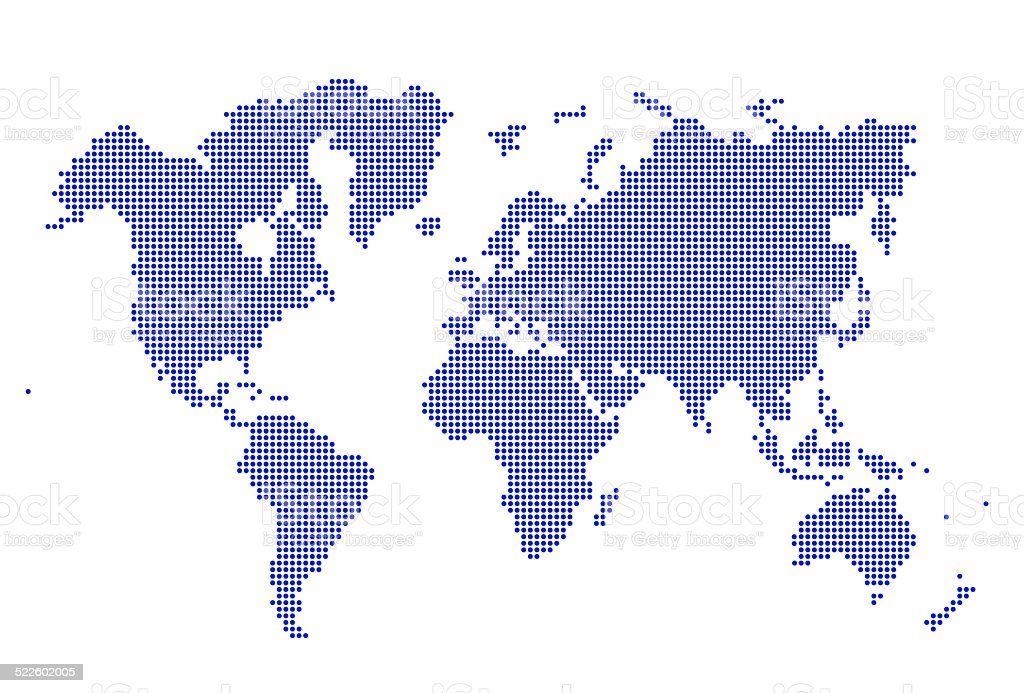 Image of dotted world map illustration stock photo