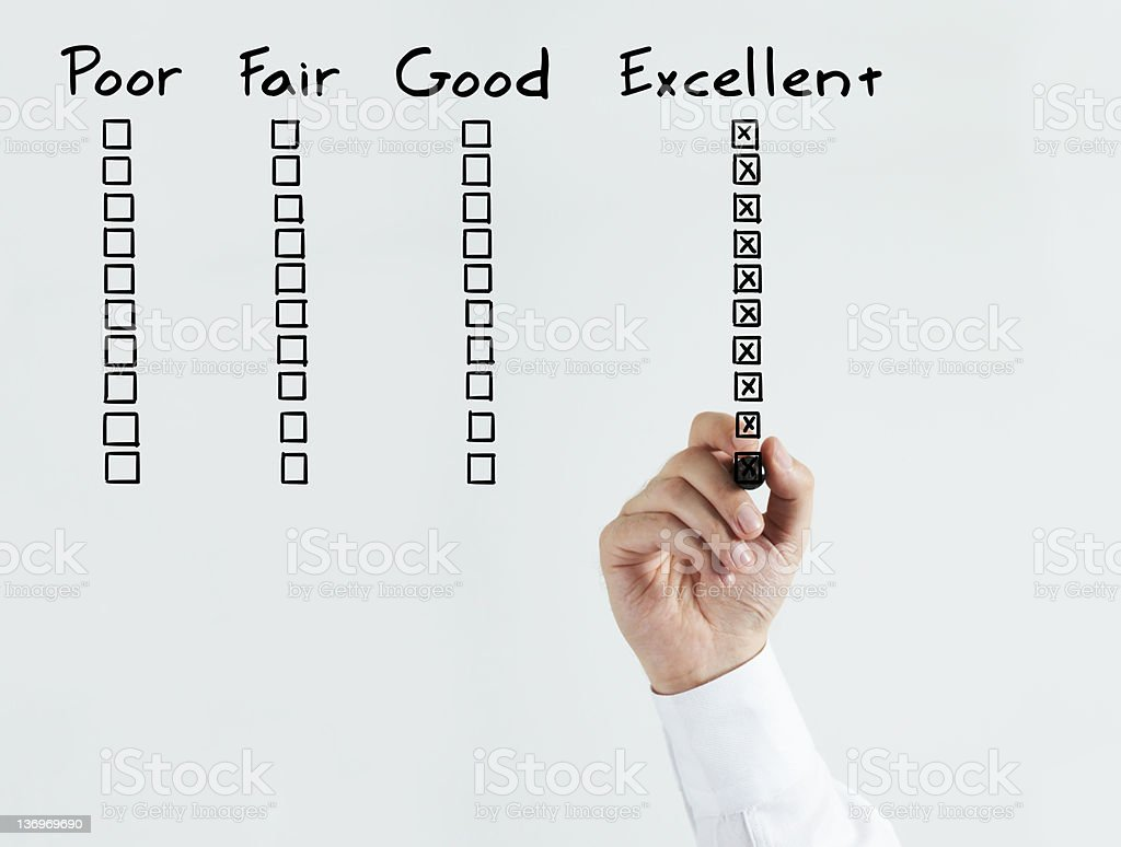 Image of employee having excellent performance review stock photo
