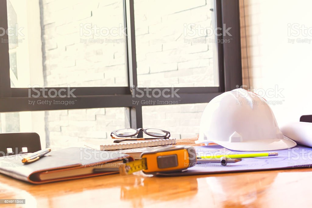 Image of engineer meeting for architectural project stock photo