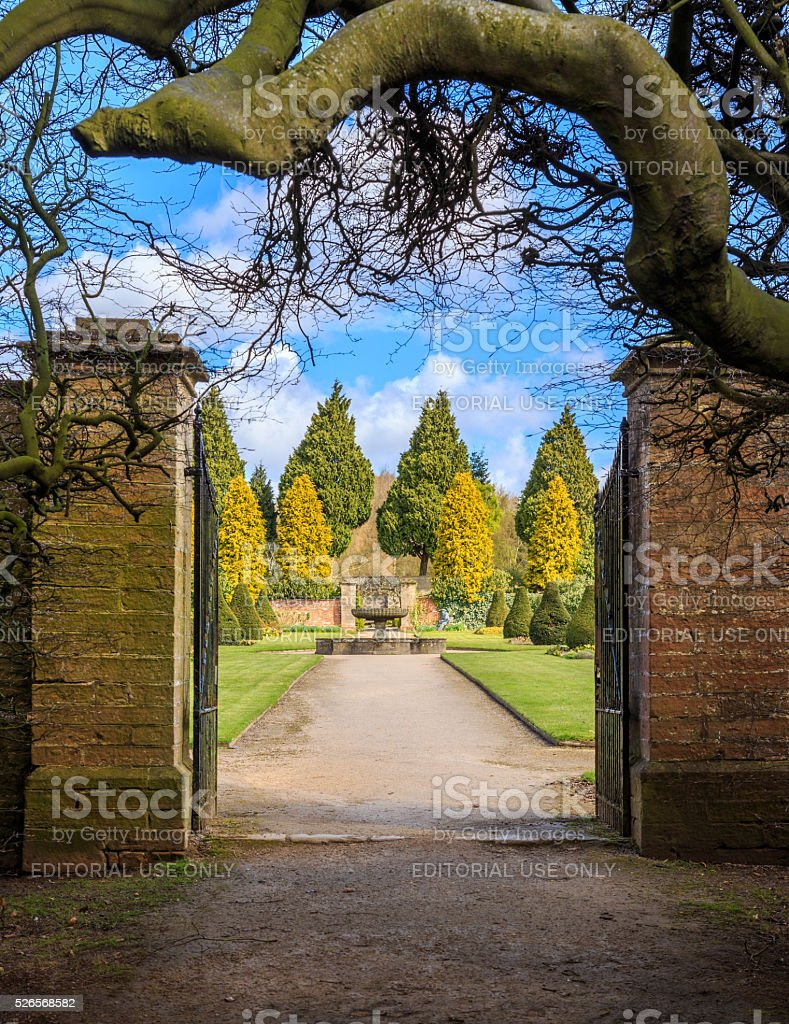 HDR image of entrance gate to Rose Gardens, Newstead Abbey. stock photo